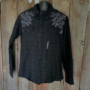 NWT! Buckle Western Style Button Down Men's L